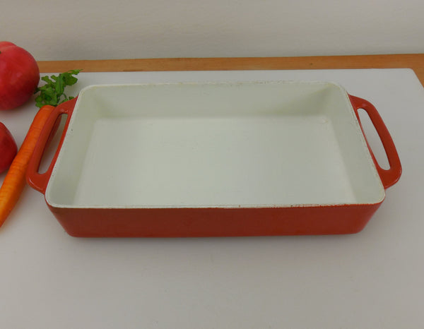 Copco Denmark Michael Lax - Orange White Enamel Cast Iron - Baking Roasting Rectangular Casserole Pan