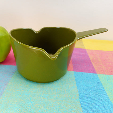 Copco Denmark Lax Design - Butter Warmer Saucepan Fondue Avocado Green Cast Iron Bottom Lip