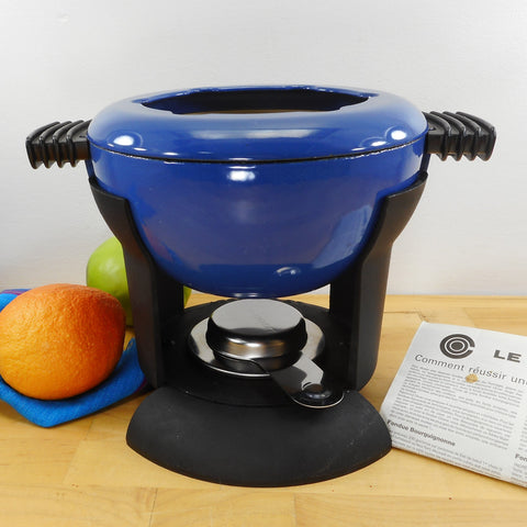 Le Creuset France Blue Enamel Cast Iron Fondue Pot Set 6034