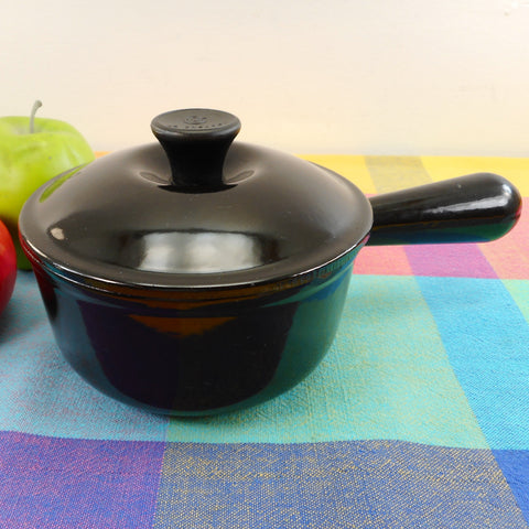 Le Creuset France Black Enamel Cast Iron 1.25 Quart #14 Saucepan & Lid - Vintage Used