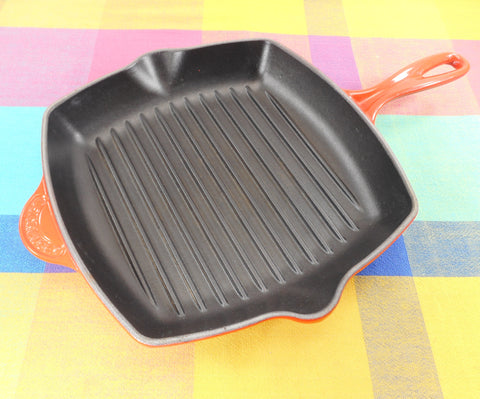 "Le Creuset France Cerise Red Enamel Cast Iron 10"" Square Grill Pan #26 Square Used"