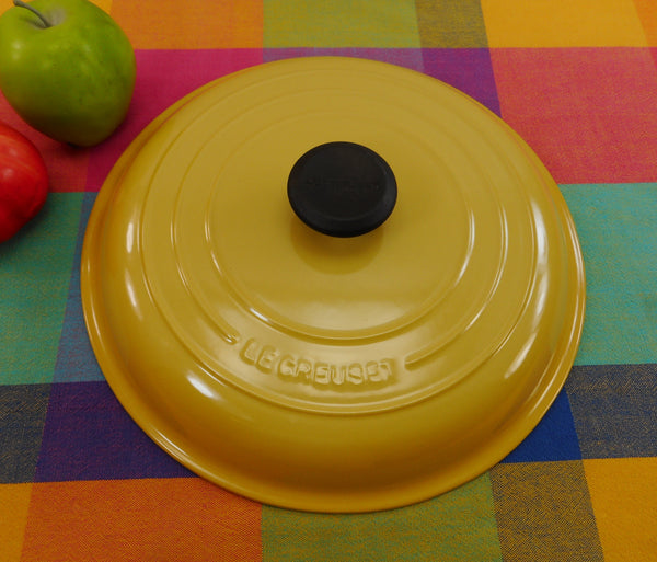 "Le Creuset France Yellow Enamel Cast Iron #30 Lid -12"" Lid Only (Braiser)"