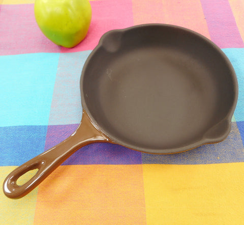 "Le Creuset France NOS Vintage Black Matt Brown #20 7.5"" Fry Pan Skillet Enamel Cast Iron"