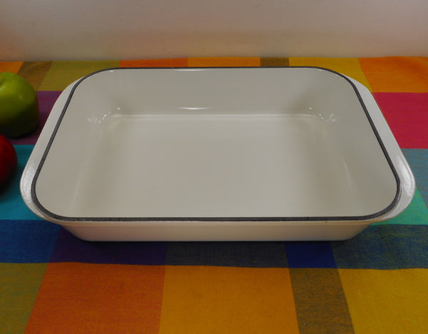 Le Creuset France #40 Used White Enamel Cast Iron 5.5 Quart Roaster Lasagna Pan