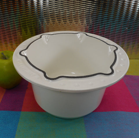 Le Creuset France White Enamel Cast Iron Fondue Pot - Pot Only - Model 6010