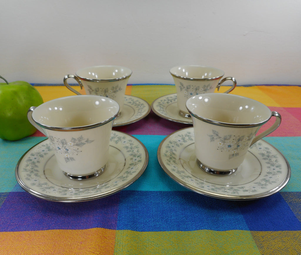 Lenox China Windsong 4 Set Footed Cups & Saucers