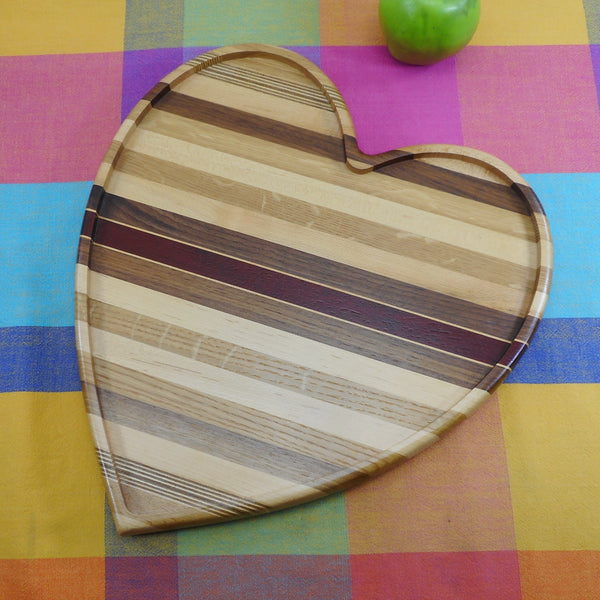 David Levy Hardwood Heart Shape Serving Tray Cutting Board