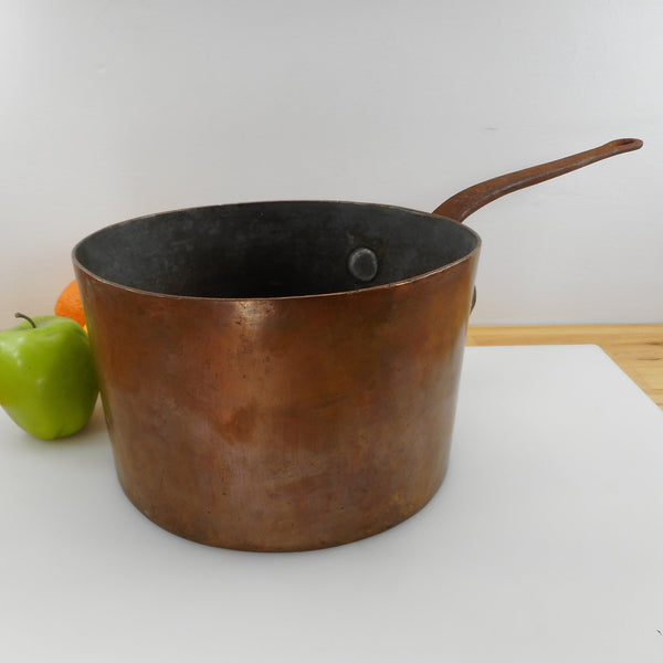 D. H&M Wooster St. NY Antique Copper Tin 6 Quart Sauce Pan - Unrestored
