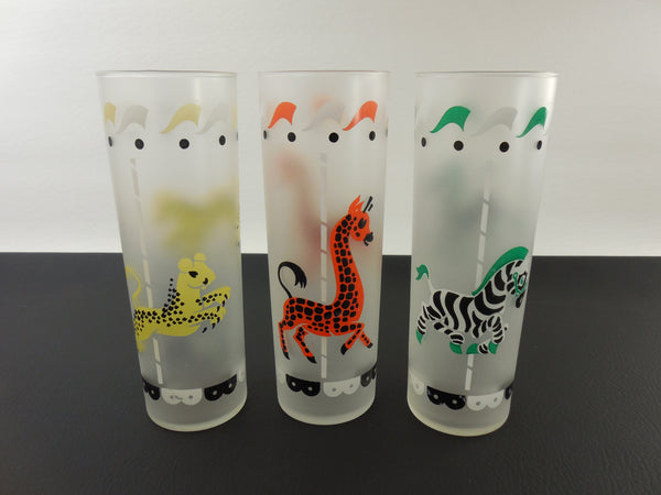Vintage Libbey Glasses Carousel Animals - Zebra Cheetah/Lion Giraffe