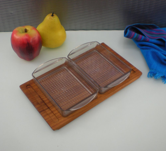 Liithje Denmark Teak Relish Condiment Serving Tray - Vintage Danish Modern
