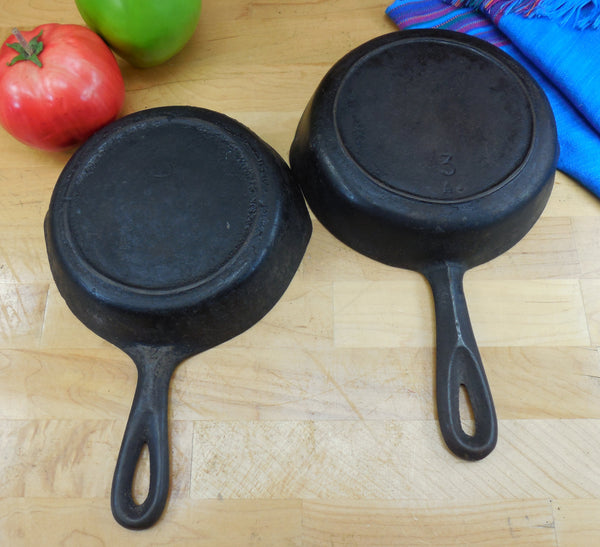 Lodge BSR Vintage Pair Unrestored #3 Cast Iron Skillets - Heat Rings