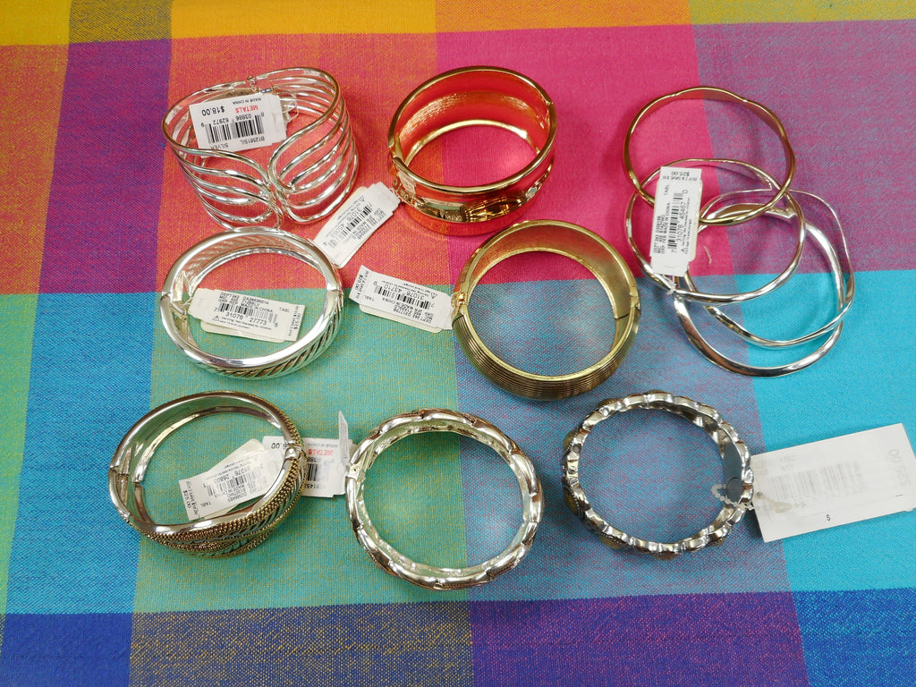 Macy's Fashion Hinged Bracelets Silver Gold Tones - 8 Lot NWT New