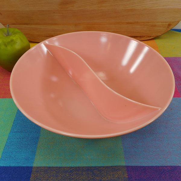 "Marcrest Melmac USA 9.5"" Divided S Curve Serving Bowl - Atomic Era Pink"