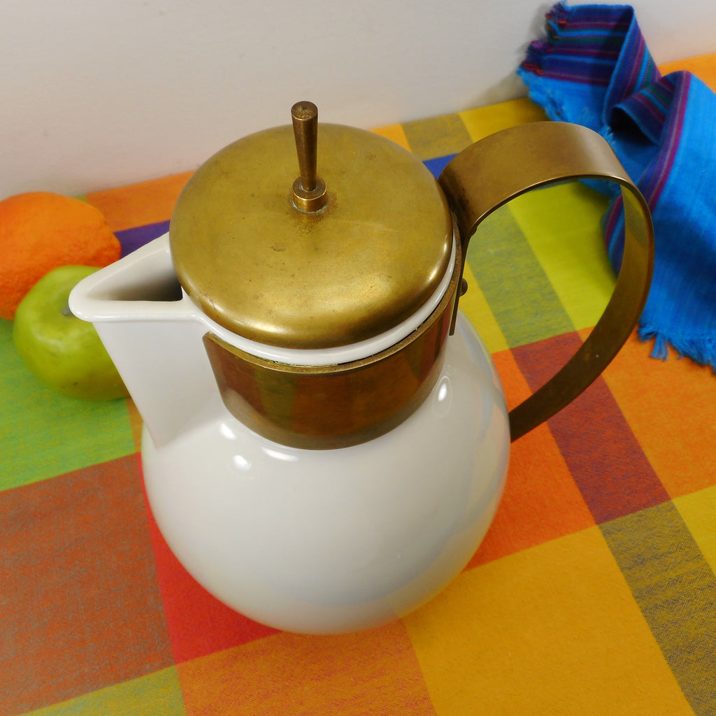 Ernest Sohn Era Mid Century White Porcelain Brass Pitcher Coffee Carafe Pot Brass Lid