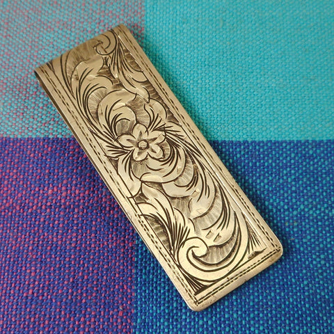 Money Clip Etched Floral Flower 800 Silver Unbranded Vintage