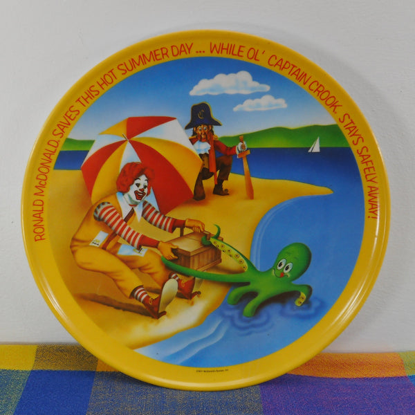 Ronald McDonald 1977 Plastic Dinner Plate - Captain Crook