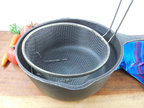 SOLD... Tinned Wire Mesh Fry Basket Insert - Verticle Handle - Use With Vintage Cast Iron Pot Pan