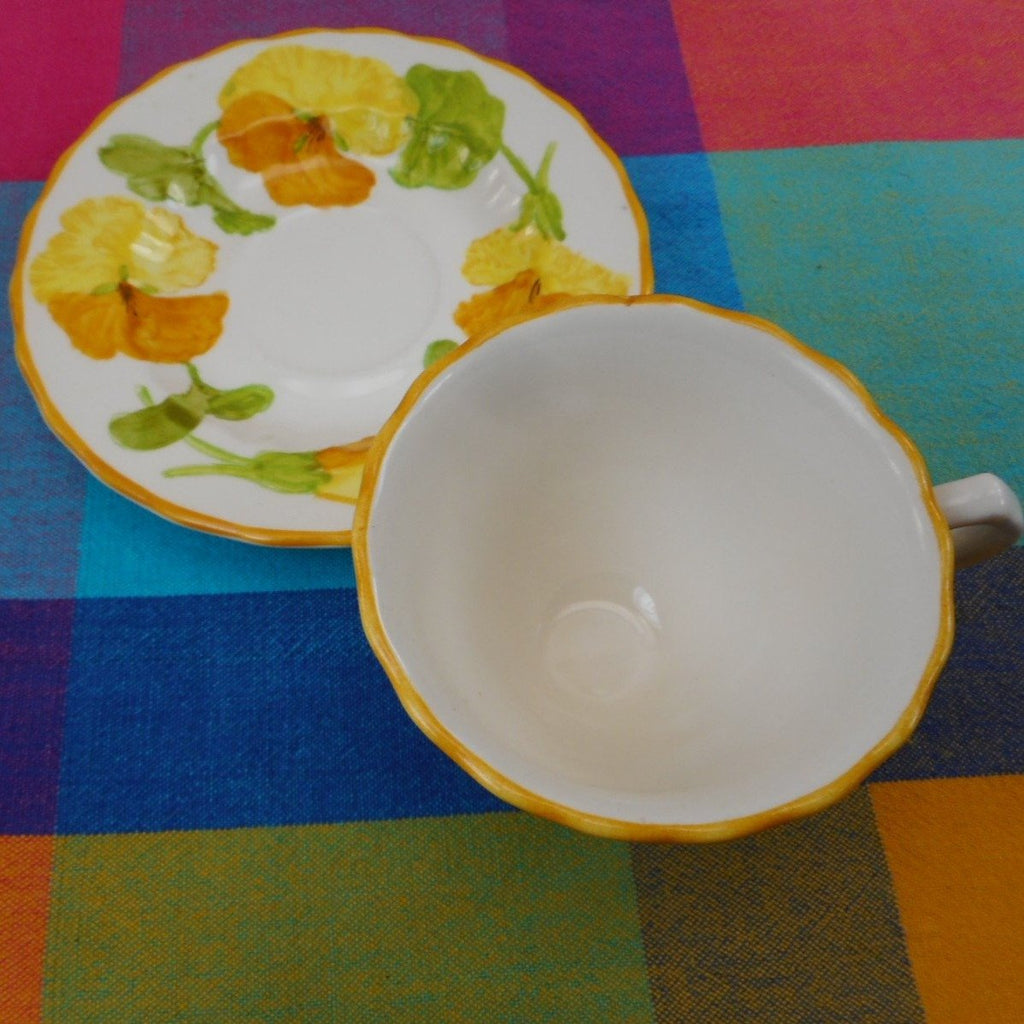 Vernon Ware by Metlox California USA... NASTURTIUM - Cup and Saucer Set Vintage