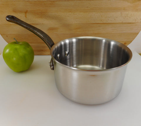 Unbranded Made In France Heavy Duty Stainless Steel 2 Quart Open Saucepan Iron Handle