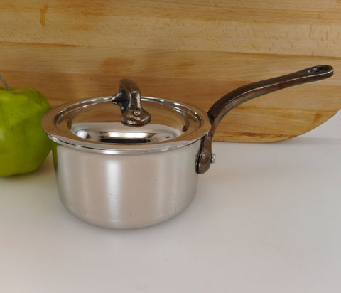 Unbranded Made In France Heavy Duty Stainless Steel 1 Quart Saucepan & Lid Iron Handle