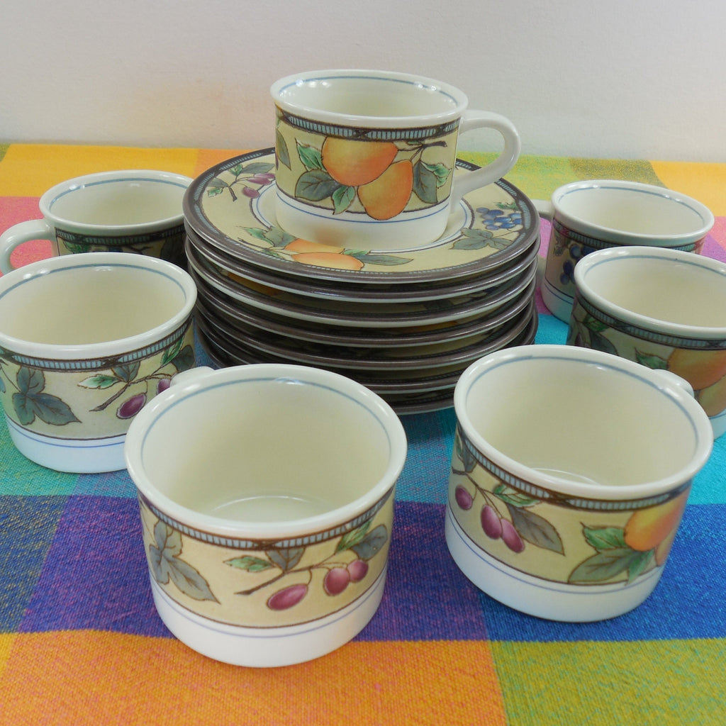 Mikasa Intaglio Garden Harvest - Set of 7 Cups and Saucers - CAC29