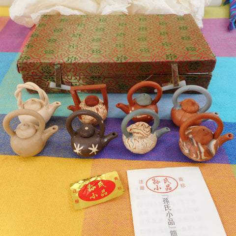 "Chinese 8 Boxed Set Miniature 2"" Clay Teapots"