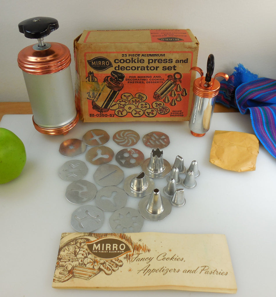 Mirro Vintage Cookie Dessert Pastry Press - 23 Piece Set with Original Box and Booklet