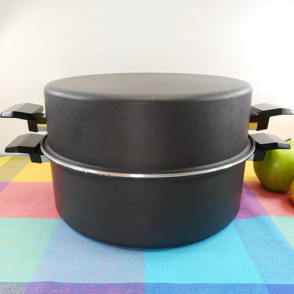 West Bend Mircale Maid 1970s Large 6 Quart Stock Pot Dome Lid Steamer - Gem Coat Anodized Aluminum