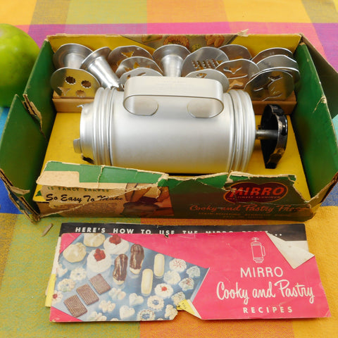 Mirro Vintage Cookie Cooky Dessert Pastry Press Set with Original Cardboard Box