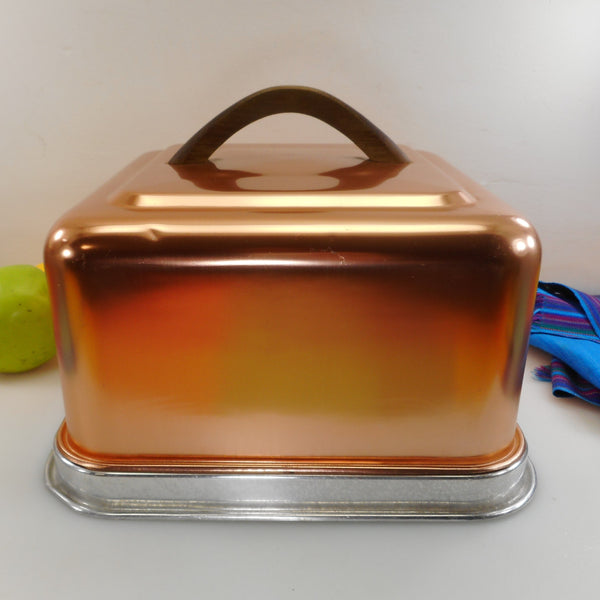 Mirro Finest Aluminum USA Vintage Cake Toter Carrier Saver - Square Anodized Copper Color