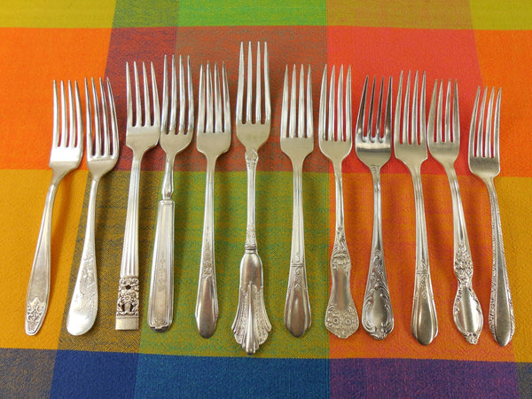 Vintage Mismatched Silverware - 12 Set Silverplate Dinner Forks