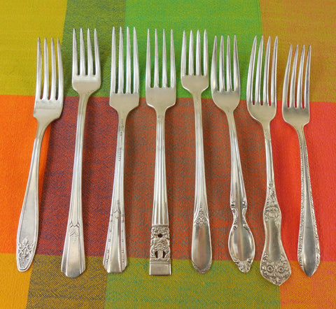 Vintage Mismatched Silverware - 8 Set Silverplate Dinner Forks