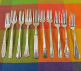 Vintage Mismatched Silverware - 10 Set Silverplate Dinner Forks