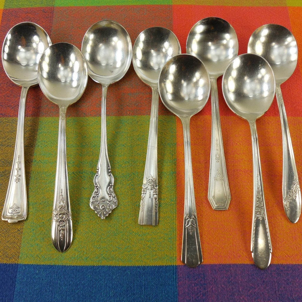 Vintage Mismatched Silverware - 8 Set Silverplate Gumbo Soup Spoons