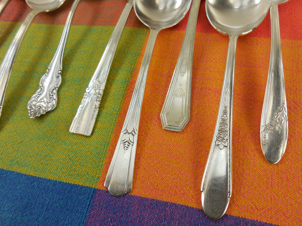 Vintage Mismatched Silverware - 8 Set Silverplate Gumbo Soup Spoons - Handle View 2