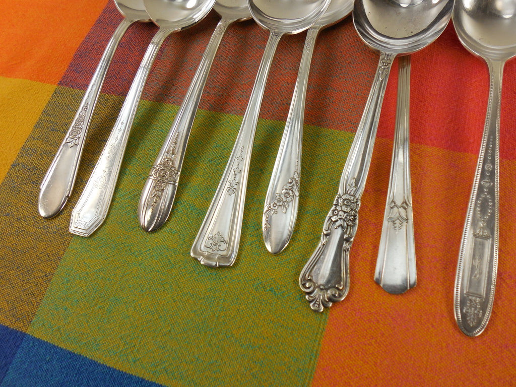 Vintage Mismatched Silverware - 8 Set Silverplate Gumbo Soup Spoons - Handle View