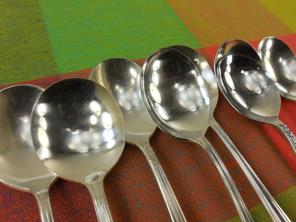 Vintage Mismatched Silverware - 8 Set Silverplate Gumbo Soup Spoons - View 3