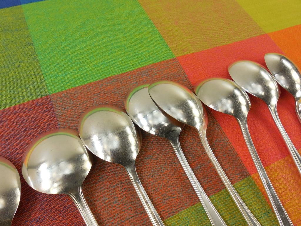 Vintage Mismatched Silverware - 8 Set Silverplate Gumbo Soup Spoons - Back View 2