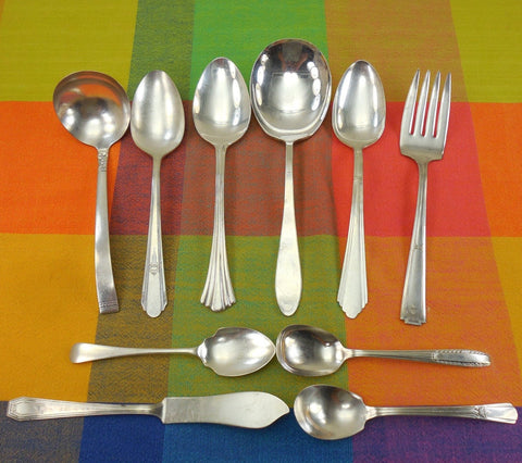 10 Piece Mismatched Serving Set - Shabby Cottage Elegant Floral Silverplate Flatware... Antique Silverware
