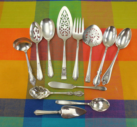 12 Piece Mismatched Serving Set - Cottage Chic Floral Silverplate Flatware... Antique Silverware