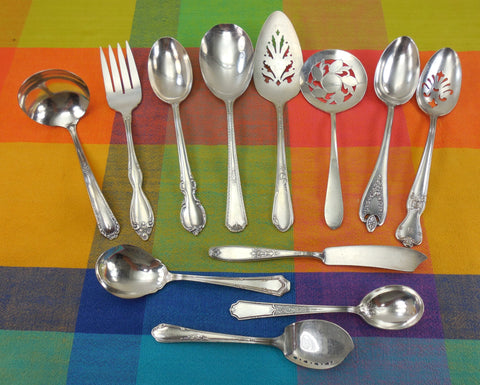 12 Piece Mismatched Serving Set - Cottage Chic Floral Traditional Edwardian Silverplate Flatware... Antique Silverware