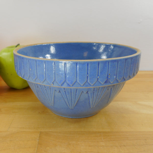 Antique Yellow Ware Stoneware Blue Mixing Bowl Picket Fence 6-3/4""