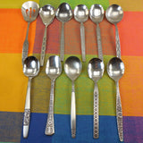 Mismatched Flatware Black Highlight Modern Stainless - 11 Sugar Nut Spoons - Mixed Maker Pattern
