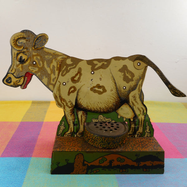 Cow Vintage Litho Tin Toy - Press My Tail And I Moo-oo
