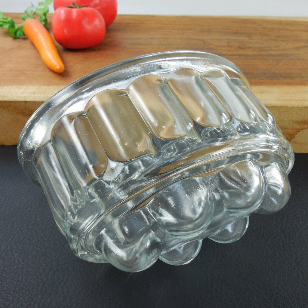 Vintage Depression Glass Clear Bubble Food Mold Side View