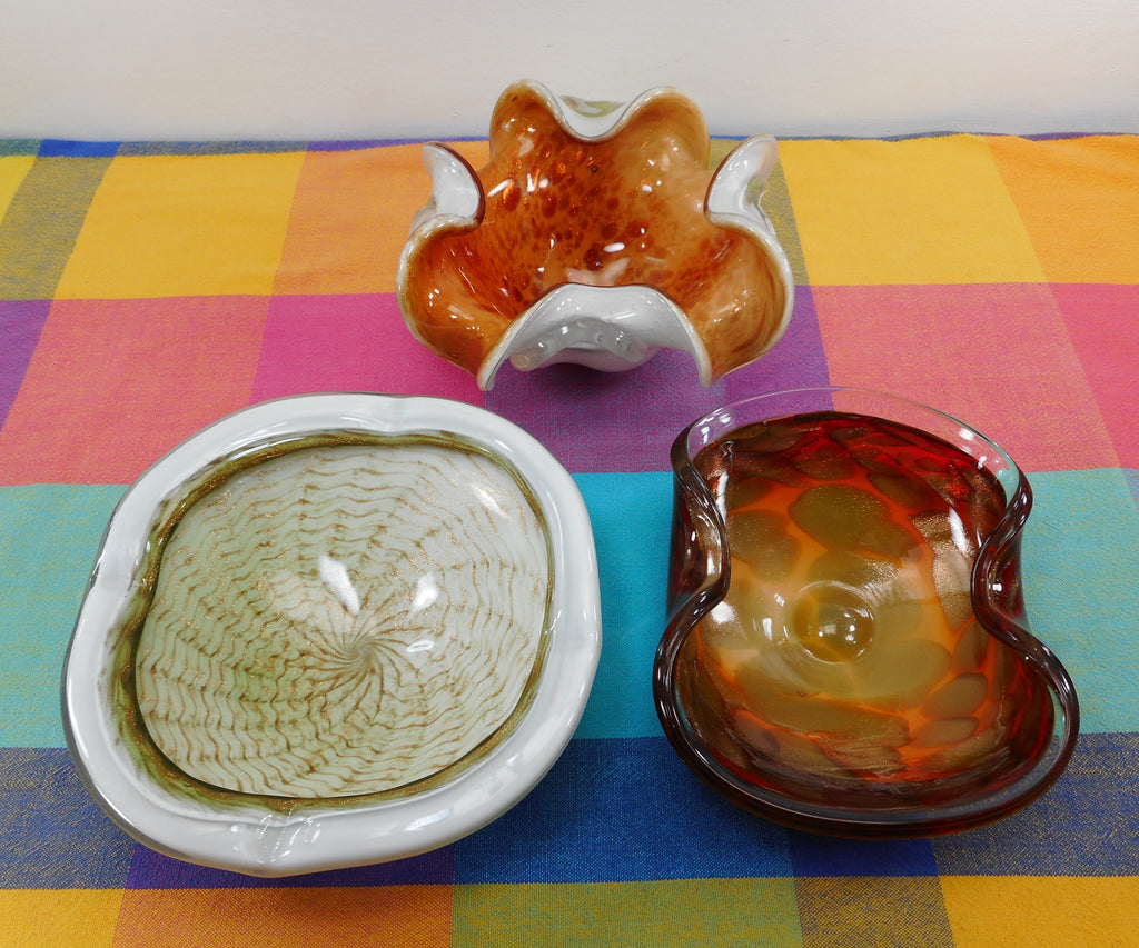 Murano Art Glass Vintage Estate 3 Lot Bowls Ashtrays - Aventurine Somerso Orange Yellow Gold White