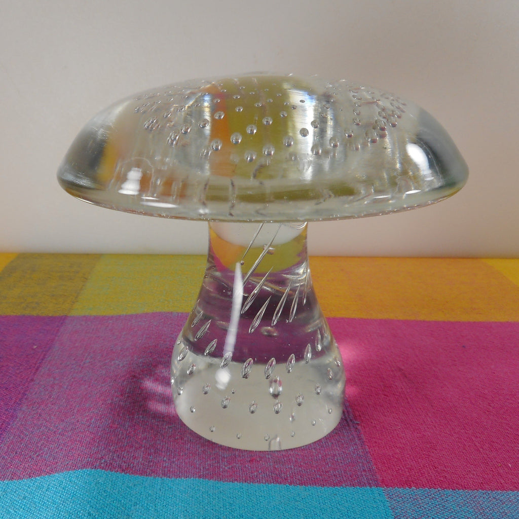 "Mushroom Large Clear Art Glass Paperweight 4-5/8"" Bullicante Bubble"
