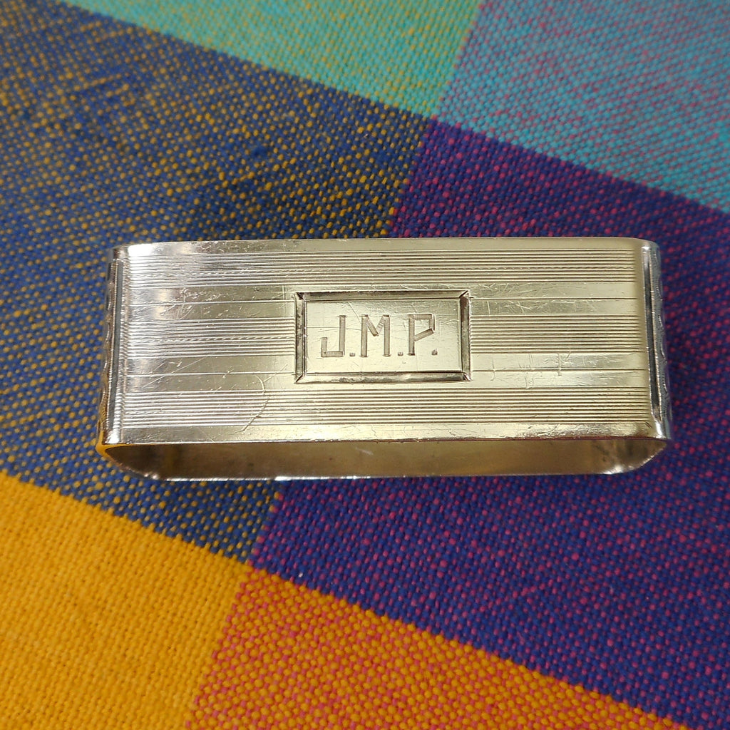 International Waltrous Sterling Silver Art Deco Napkin Holder Ring - Monogram J.M.P.