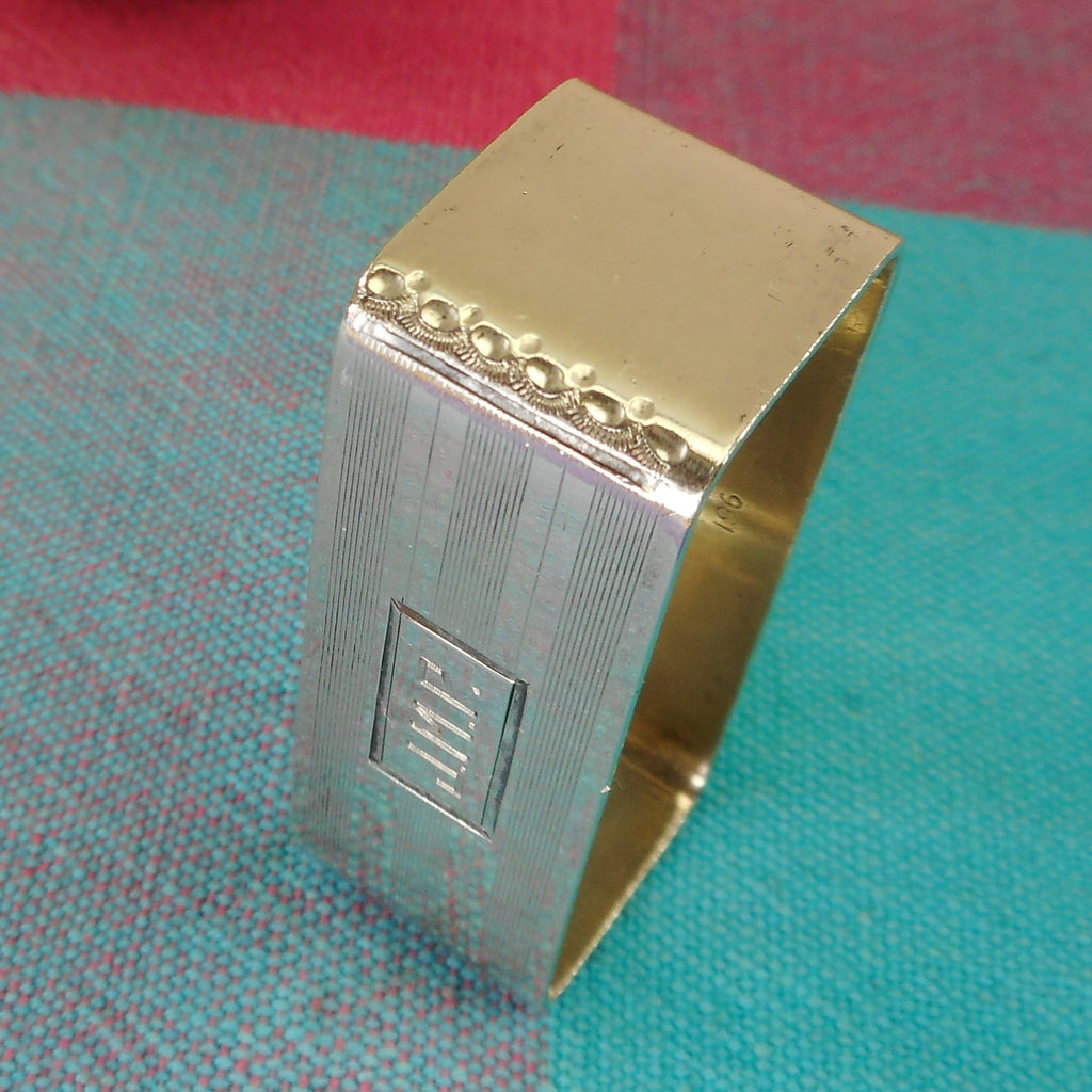 International Waltrous Sterling Silver Art Deco Napkin Holder Ring - Monogram J.M.P. Striated Lines