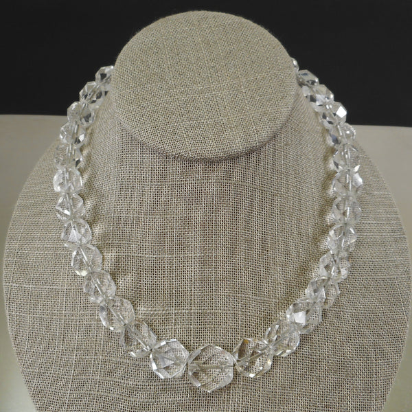 "Art Deco Faceted Bead Rock Crystal Quartz 16"" Necklace Wire Strung"
